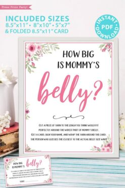 How big is mommy's belly. printable baby shower game pink flowers Press Print Party!