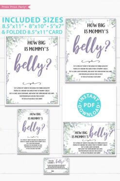 How big is mommy's belly sign and cards - Baby shower game printable template pdf, baby shower party ideas, instant download Press Print Party! Greenery and purple design