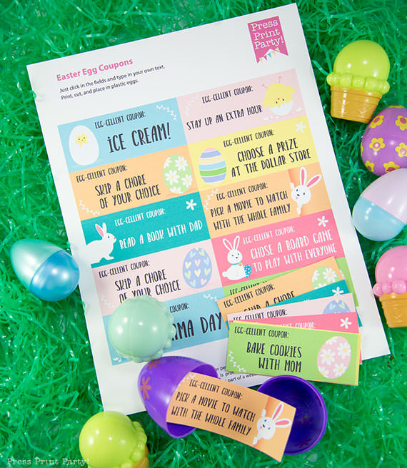 Easter egg hunt free printable coupon editable with your own text - Easter hunt ideas - Press Print Party! - full sheet of easter coupons