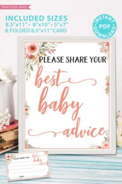 Best baby advice sign and card Printable baby shower game Peach flowers, instant download pdf Press Print Party!