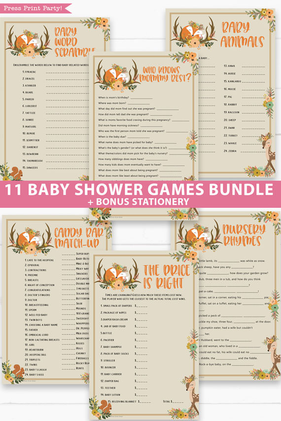 woodland 11 baby shower games bundle oh baby baby shower games bundle - what is purse, nursery rhymes, mom questionnaire, disney parent match, celebrity baby, candy bar match up, baby word scramble, gift bingo, baby animals, abc name game.Press Print Party!