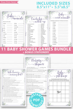 greenery and purple 11 baby shower games bundle oh baby baby shower games bundle - what is purse, nursery rhymes, mom questionnaire, disney parent match, celebrity baby, candy bar match up, baby word scramble, gift bingo, baby animals, abc name game.Press Print Party!