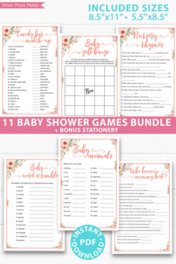 peach flowers 11 baby shower games bundle oh baby baby shower games bundle - what is purse, nursery rhymes, mom questionnaire, disney parent match, celebrity baby, candy bar match up, baby word scramble, gift bingo, baby animals, abc name game.Press Print Party!