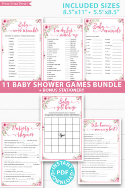 pink flowers 11 baby shower games bundle oh baby baby shower games bundle - what is purse, nursery rhymes, mom questionnaire, disney parent match, celebrity baby, candy bar match up, baby word scramble, gift bingo, baby animals, abc name game.Press Print Party!