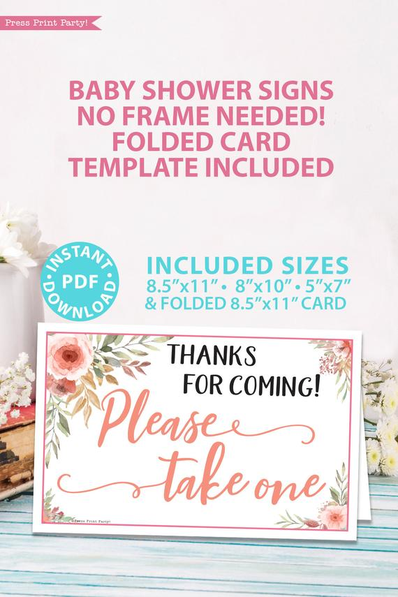 Please take one sign for favors Printable baby shower game Peach flowers, instant download pdf Press Print Party!