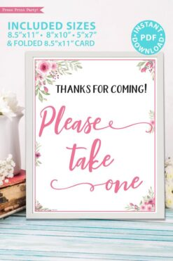 Please take one sign printable baby shower game pink flowers Press Print Party!