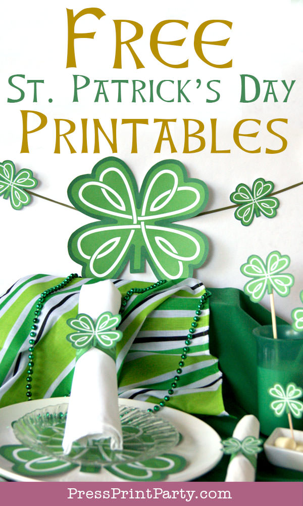 Free St Patrick's Day Shamrock Printables by Press Print Party!