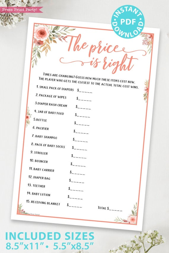 The price is right Printable baby shower game Peach flowers, instant download pdf Press Print Party!