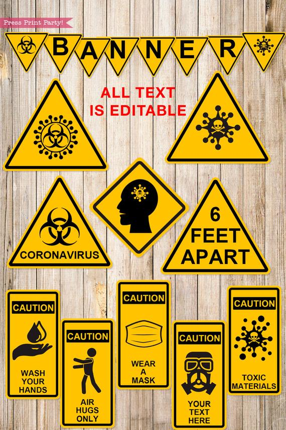Quarantine Birthday Photo Booth Props and Signs, Editable Birthday Yard Sign, Drive-by birthday, For Car or Photos, Party Decor, INSTANT DOWNLOAD
