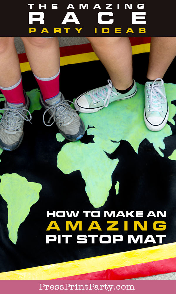 the amazing race party ideas. How to make an amazing pit stop mat. DIY homemade. Press Print Party!