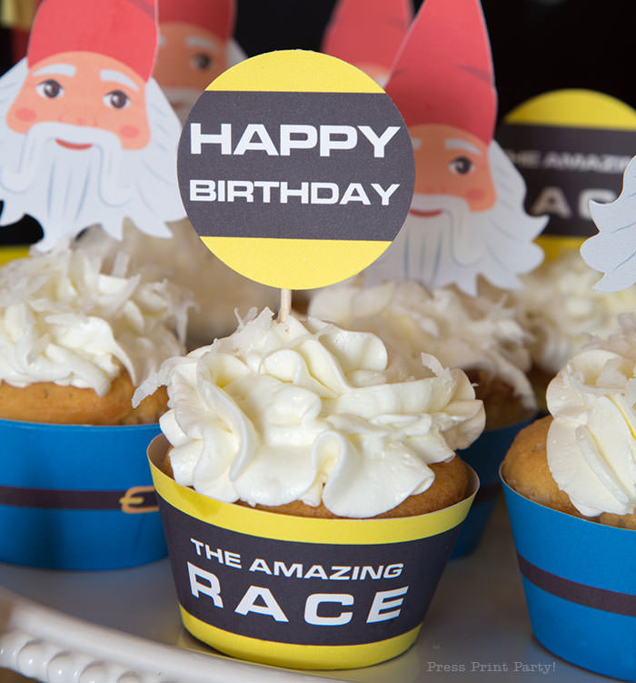 Gnome cupcake wrapper and toppers. The Amazing Race Party ideas - Press Print Party!