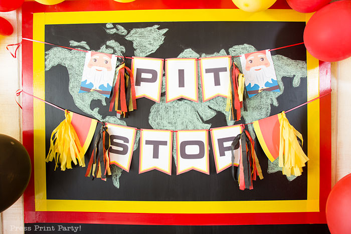 Pit stop banner - The amazing race party ideas - Press Print Party!