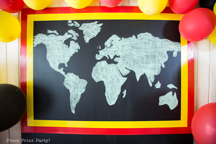 The amazing race pit stop mat as a backdrop for a dessert table. tutorial by Press Print Party!