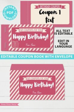 Birthday Coupon Book Printable Pink Press Print Party