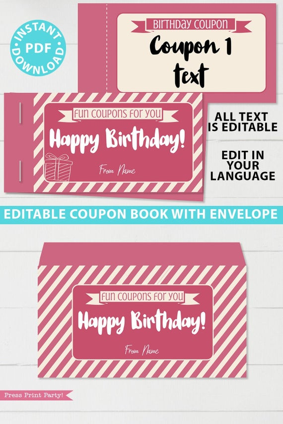Pink editable birthday coupon book template printable last minute gift ideas download gift for her - Press Print Party!