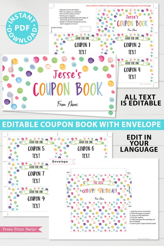 confetti editable birthdaycoupon book template printable last minute gift ideas download gift for her - Press Print Party!
