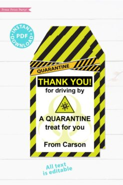 drive by birthday thank you tags editable for quarantine birthday party lime green instant download