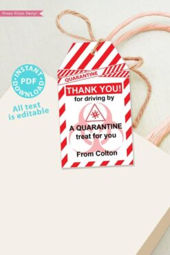 drive by birthday thank you tags editable for quarantine birthday party red and white instant download