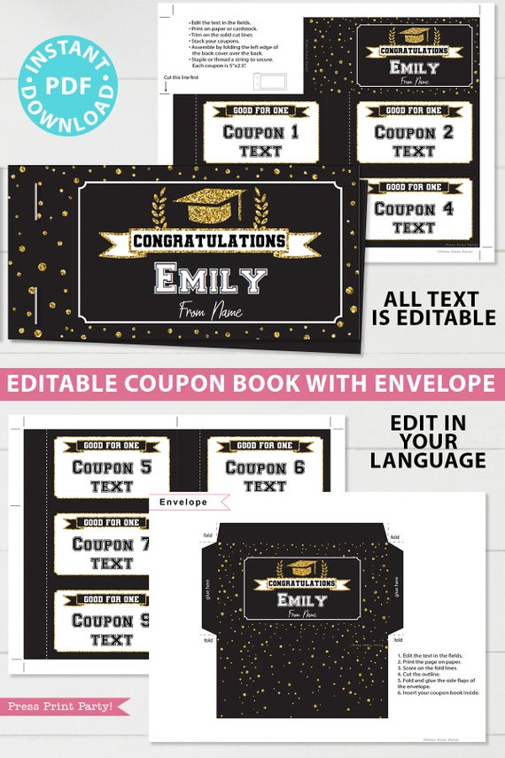 Gold editable graduation coupon book template printable last minute gift ideas for the new grad download - Press Print Party!