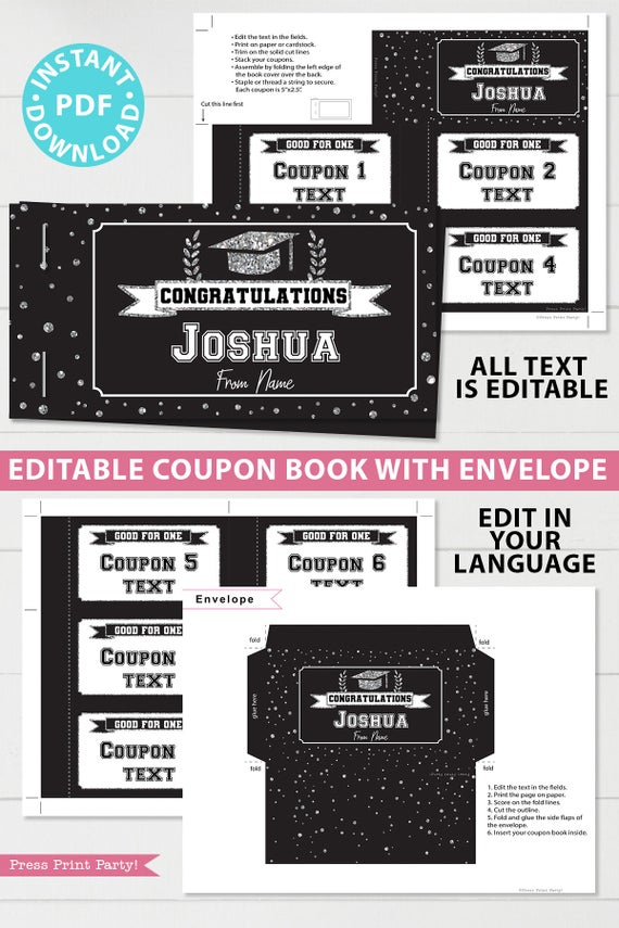 Silver editable graduation coupon book template printable last minute gift ideas for the new grad download - Press Print Party!