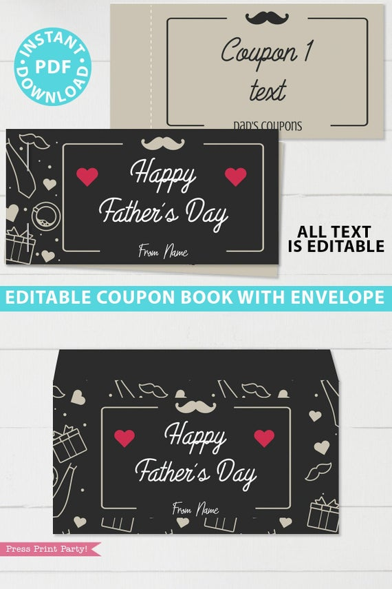 Father's day gift editable coupon book template printable last minute gift ideas for the new grad download - Press Print Party!