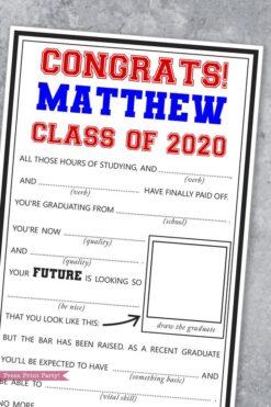 graduation mad libs advice cards party idea - Press Print Party!
