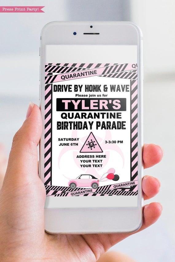 quarantine birthday invitation pink and black - Press Print Party!