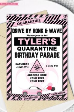 quarantine birthday invitation pink and black - Press Print Party!