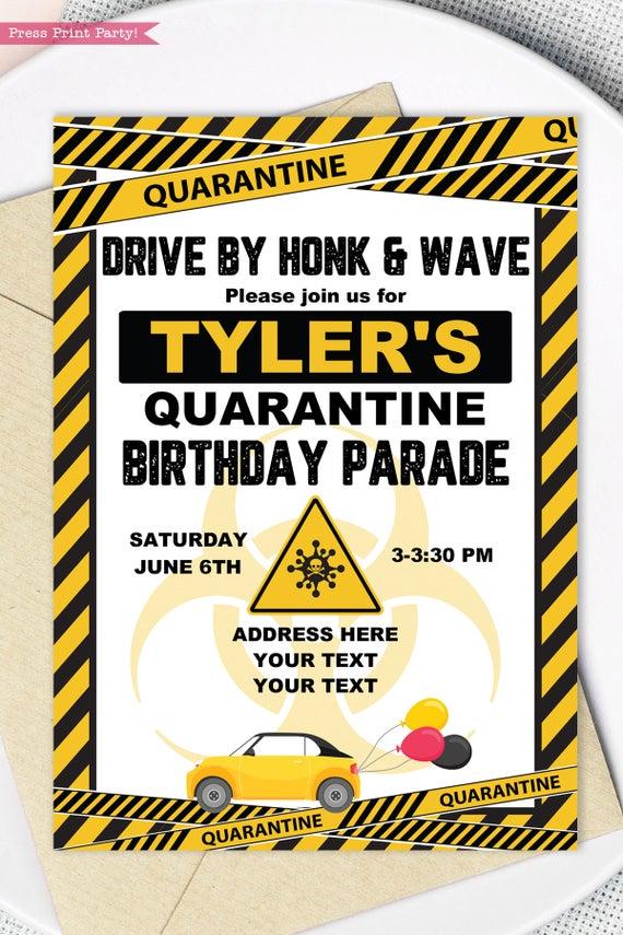 quarantine birthday invitation Yellow and black - Press Print Party!