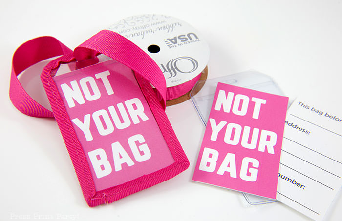 Pink Not your Bag luggage tag with blue ribbon and free printable template with back for name and address - Press Print Party!