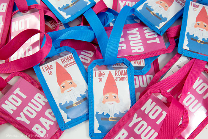 DIY template for luggage tags with free printables. Pink Not your bags and blue roaming gnome travel tags funny and cute. Press Print Party!