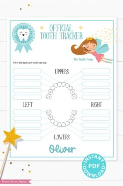 Create a magical tradition. Tooth Fairy printable set blue for boys or girls with letter, receipt, door handle, first tooth certificate, tooth envelope, cash envelope, baby teeth chart, editable by Press Print Party!