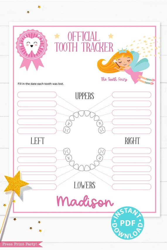 Create a magical tradition. Tooth Fairy printable set pink with letter, receipt, door handle, first tooth certificate, tooth envelope, cash envelope, baby teeth chart, editable by Press Print Party!
