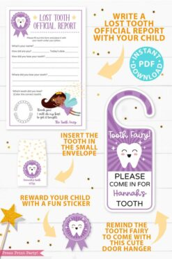 Create a magical tradition. Tooth Fairy printable set purple black tooth fairy for boys or girls with tooth fairy letter, receipt, door handle, first tooth certificate, tooth envelope, cash envelope, baby teeth chart, editable by Press Print Party!