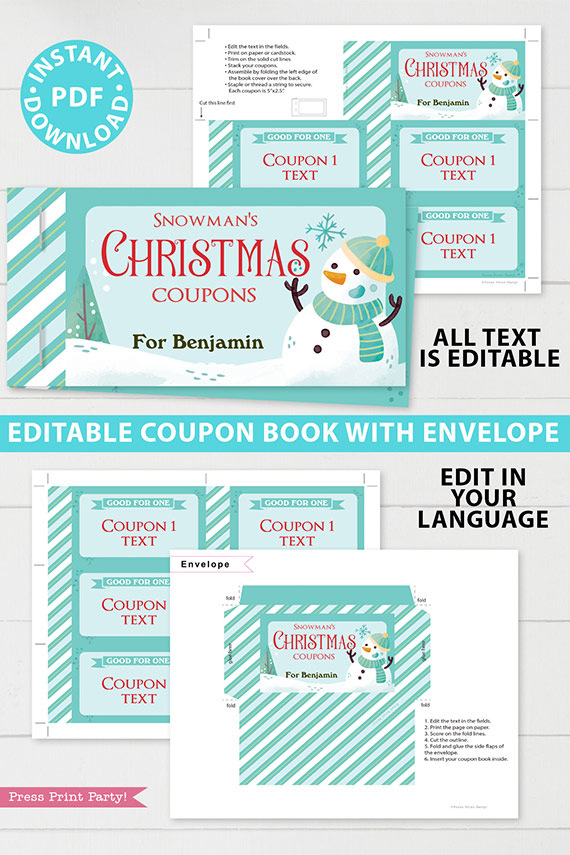 Christmas Coupon Book Printable Template, From Santa Gift Idea, Editable Blank Coupons, Last Minute Gift Stocking Stuffer, INSTANT DOWNLOAD