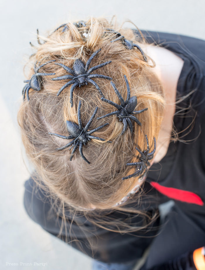 small spiders in hair for spider costume diy - Press Print Party!