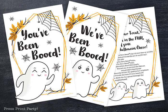 You've been booed, We've been booed, and you've been booed instruction sheet on black background. Free printable by Press Print Party!