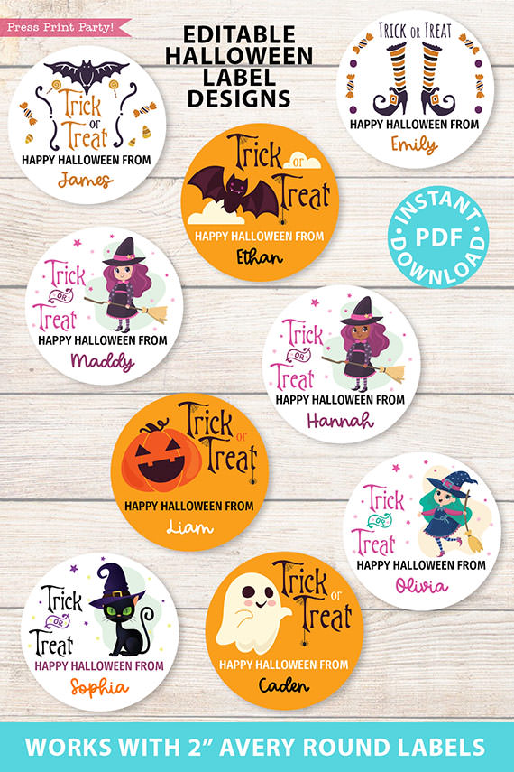 "9 Halloween label stickers 9"" round with witches, ghosts, pumpkins, cats, black Witch, bat, printable and editable by Press Print Party!"