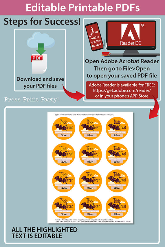 """Halloween Labels Printable Avery 2"""" Round Labels Customizable with Editable text, Halloween treat sticker, Bat Design, INSTANT DOWNLOAD"""