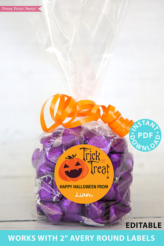 "Halloween Labels Printable Avery 2"" Round Labels Customizable with Editable text, Halloween treat sticker, Pumpkin, INSTANT DOWNLOAD"