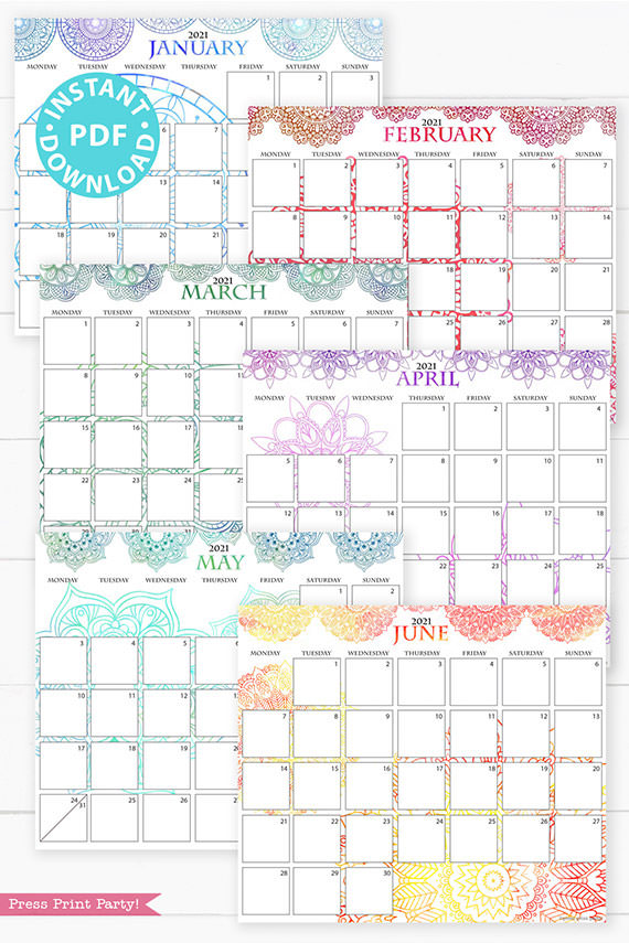 January, February, March, April, May, June,MONDAY Start 2021 Calendar Printable Set, Mandala Watercolor, Bullet Journal Printable, Monthly Calendar Daily Routine, INSTANT DOWNLOAD