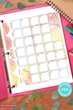 2021 Monthly Printable Calendar Template, Watercolor Mandala, Bullet Journal Calendar Download, Monthly Planner, Sunday, INSTANT DOWNLOAD