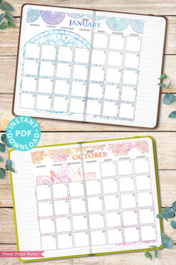 MONDAY Start 2021 Calendar Printable Set, Mandala Watercolor, Bullet Journal Printable, Monthly Calendar Daily Routine, INSTANT DOWNLOAD