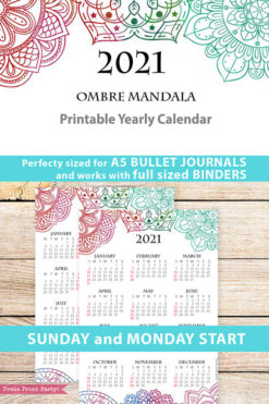 2021 Yearly Calendar Template Printable, Watercolor Mandala, Bullet Journal Printable Calendar Download, Calendar Insert, INSTANT DOWNLOAD