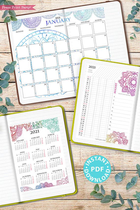 MONDAY Start 2021 Monthly Calendar Printable Template, Watercolor Mandala, Bullet Journal Calendar, Planner, Sunday, INSTANT DOWNLOAD
