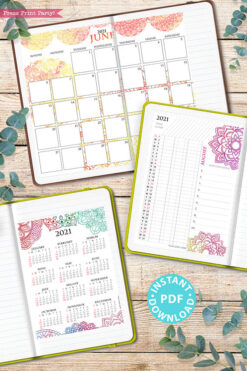 2021 Calendar Printable Template Set, Mandala Watercolor, Bullet Journal Printable, Binder, Monthly Calendar Daily Routine, INSTANT DOWNLOAD