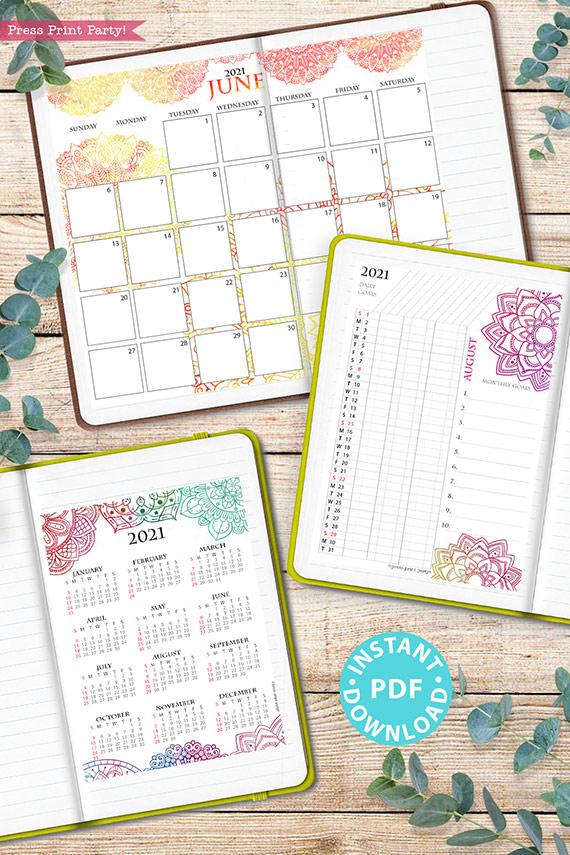 2021 Calendar Printable Template Set, Mandala Watercolor, Bullet Journal Printable, Binder, Monthly Calendar Daily Routine, INSTANT DOWNLOAD
