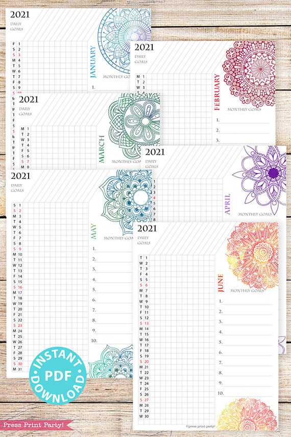 January, February, March, April, May, June, 2021 Daily Routine Printables, Habit Tracker, Watercolor Mandala Bullet Journal Printable, Daily Tracker Goal Planner, INSTANT DOWNLOAD