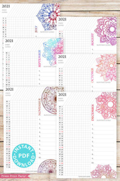 July, August, September, October, November, December, 2021 Daily Routine Printables, Habit Tracker, Watercolor Mandala Bullet Journal Printable, Daily Tracker Goal Planner, INSTANT DOWNLOAD