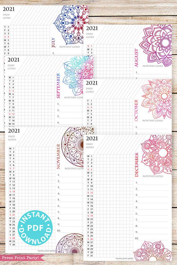 July, August, September, October, November, December, 2021 Daily Routine Printables, Habit Tracker, Watercolor Mandala Bullet Journal Printable, Daily Tracker Goal Planner, INSTANT DOWNLOAD